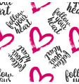 seamless pattern from hearts with text vector image vector image
