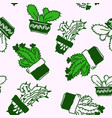 seamless pattern of drawn cactus in pots vector image vector image