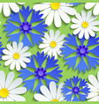 seamless pattern with cornflower and chamomile vector image vector image