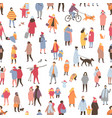 seamless pattern with tiny people dressed in vector image vector image