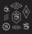 set coffee labels vintage logos blackboard retro vector image