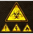 Set of grunge warning signs vector image vector image
