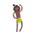 smiling black skinned man aborigine waving his vector image vector image