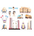 space research technology icons set vector image