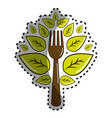 sticker fork kitchen tool with leaves vector image vector image