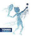 tennis player silhouette halftone dots vector image