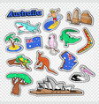 travel to australia doodle australian stickers vector image