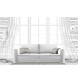 white sofa large window in a brick wall vector image
