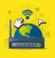 wifi router icon related with internet around the vector image vector image