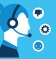 woman dispatcher headset customer service vector image vector image