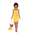 woman with dog vector image