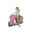 Girl on scooter vector image