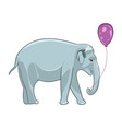 smiling baby elephant with purple balloon vector image