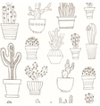Hand drawn Seamless pattern with Cactus in the vector image