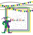 Mardi Gras Party Frame with harlequin vector image