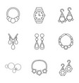 adamantine icons set outline style vector image vector image