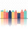 amterdam houses reflection pastel color vector image