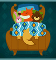 animals sleeping in bed fairytale pets asleep set vector image