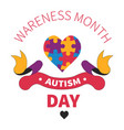 autism day isolated icon heart jigsaw or vector image