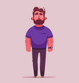 bearded guy character cartoon vector image