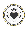 black and golden circle heart border icon vector image vector image