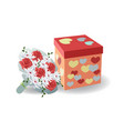 Bouquet of red roses with a gift box with hearts