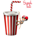 Boy climbing up plastic cup vector image vector image