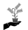 businessman hand holding a pot with money tree vector image