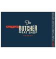 butcher meat shop logo on blue background vector image