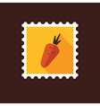 Carrot flat stamp with long shadow vector image vector image