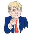 cartoon portrait of donald trump vector image vector image