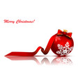 christmas red ball with bow and ribbon vector image