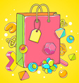 colorful of pink shopping bag on yellow back vector image