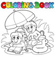 coloring book with summer theme 2 vector image