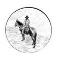 cowboy over gorge vector image vector image