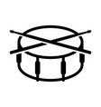 crossed drumsticks on a snare drum icon drum vector image vector image