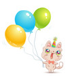 cute cat with balloons vector image vector image