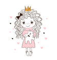 cute little girl hugs teddy bear doodle vector image