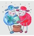 Cute sheep with Christmas ball vector image