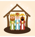 cute three wise kings manger vector image vector image