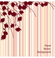Dark magnolia branches on pink striped background vector image