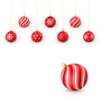 decorative red christmas balls set isolated vector image