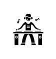 dj black icon sign on isolated background vector image vector image