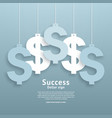 dollar signs hanging on the ropes vector image vector image