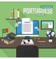 E-learning Portuguese language vector image vector image