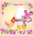 easter greeting card flowers paschal egg vector image