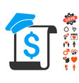 education invoice icon with valentine bonus vector image