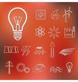 energy outline icons vector image vector image