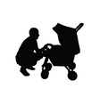 father with a baby carriage vector image