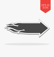 Flaming arrow icon Speed concept Flat design gray vector image